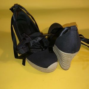 Black Wedge Espadrille with Ankle Ribbon